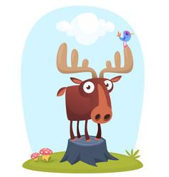 funny cute cartoon moose character vector image