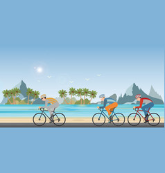 group cyclists man in road bicycle racing on vector image