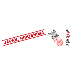 Grunge japan hiroshima line stamp and collage vector