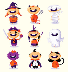 halloween set of cute cartoon children in vector image