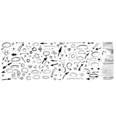 hand drawn doodle design elements black on white vector image