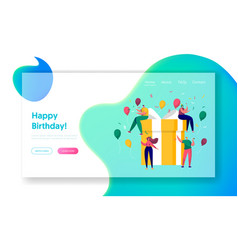 Happy birthday party celebration landing page vector