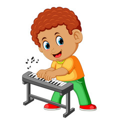 happy little boy playing piano vector image