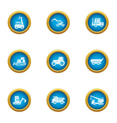 Harvest mechanical icons set flat style vector