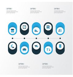 Industry colorful icons set collection of lifting vector