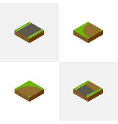 Isometric way set of turning unfinished sand vector