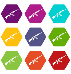Kalashnikov machine icon set color hexahedron vector