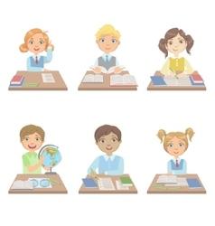 Kids Behind the Desks In School Set vector