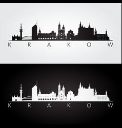 Krakow skyline and landmarks silhouette vector