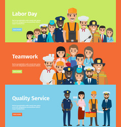 Labor day teamwork and quality service info page vector