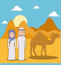 Landscape of dry desert with arabic couple design vector