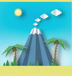Landscape with palm sun sky volcano vector