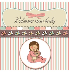 little baby girl play with her teddy bear toy vector image