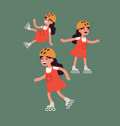 little girl learning how to roller skate flat vector image