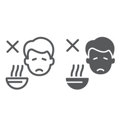 Loss appetite line and glyph icon diet and vector