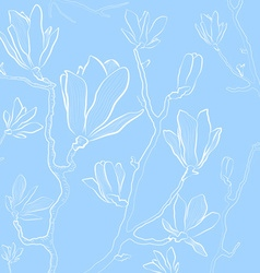 Magnolia Flowers on a Pastel Blue Background vector image