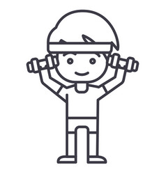 man workout with weights hands up line vector image