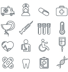 Medical Icons thin line icons set vector image