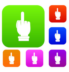 Middle finger hand sign set color collection vector