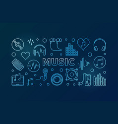 music blue linear horizontal vector image