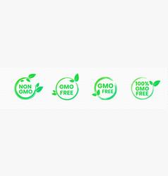 non gmo and gmo free badges in bright green color vector image