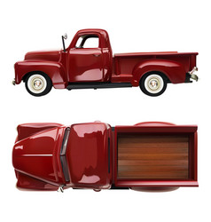 old vintage classic pickup red truck vector image