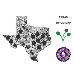 Opium drugs texas map collage vector
