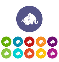 origami elephant icons set color vector image