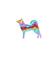 paper cut dog laika shape 3d origami vector image