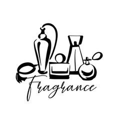 Perfume fragrance bottle sketch on white vector