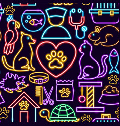 pet neon seamless pattern vector image