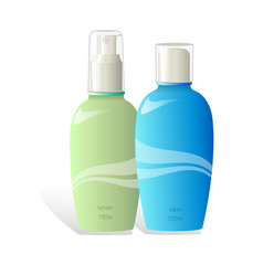 Realistic cosmetic lotion bottles on white vector