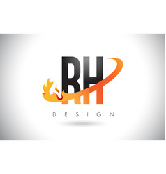 Rh r h letter logo with fire flames design and vector