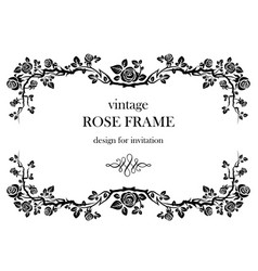 Rose vintage frame vector