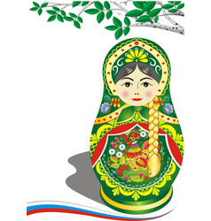 russian doll in green outfit brunette the branch vector image