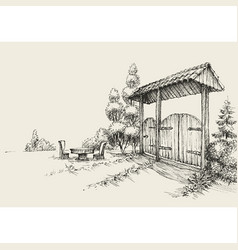 rustsic wooden gate farm entrance hand drawing vector image