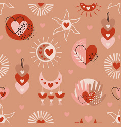 seamless pattern with love boho elements vector image