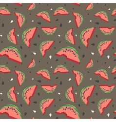 Seamless watermelon pattern with seeds vector image