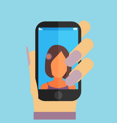 Selfie on mobile phone in trendy flat style icon vector