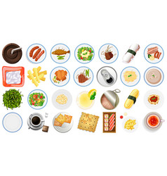 set food aerial view vector image