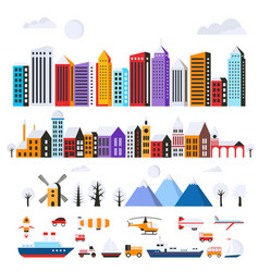 set of urban flat buildings vector image