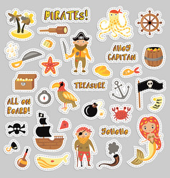 set pirates cartoon stickers adventures vector image