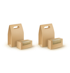 Set take away handle lunch packaging for food vector