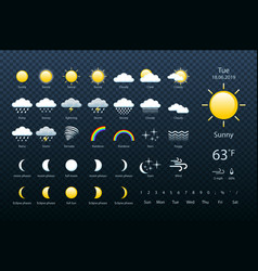 Set weather icons all icons for weather with vector