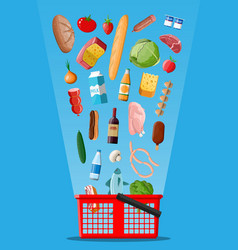Shopping basket with fresh products vector