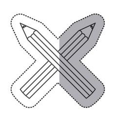 Silhouette pencils color icon vector