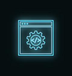 site setting neon icon web development icon vector image