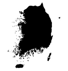 South korea map silhouette isolated on vector
