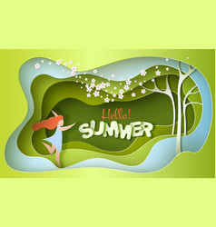 summer modern lettering with running happy girl vector image