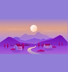 Sunrise or sunset village landscape vector